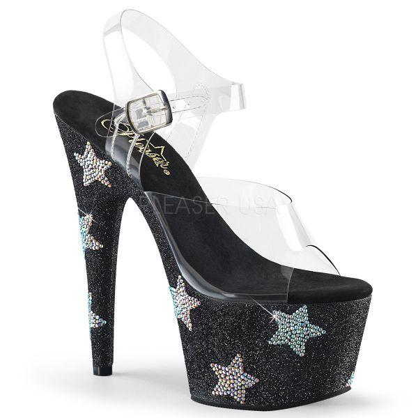 Durchsichtige Sandalette mit Strass-Steinen in Form von großen Sternen ADORE-708STAR